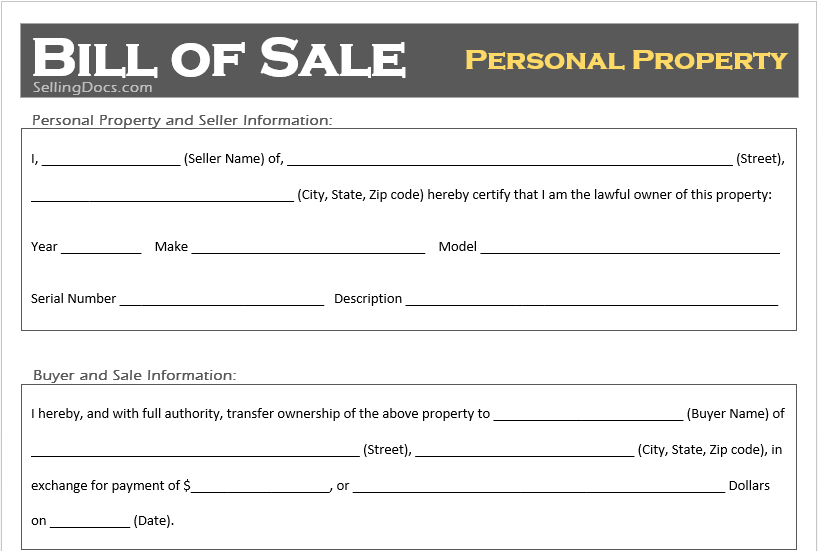 Free Printable Personal Property Bill Of Sale Template Selling Docs