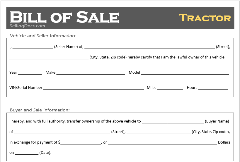 free printable tractor bill of sale template selling docs