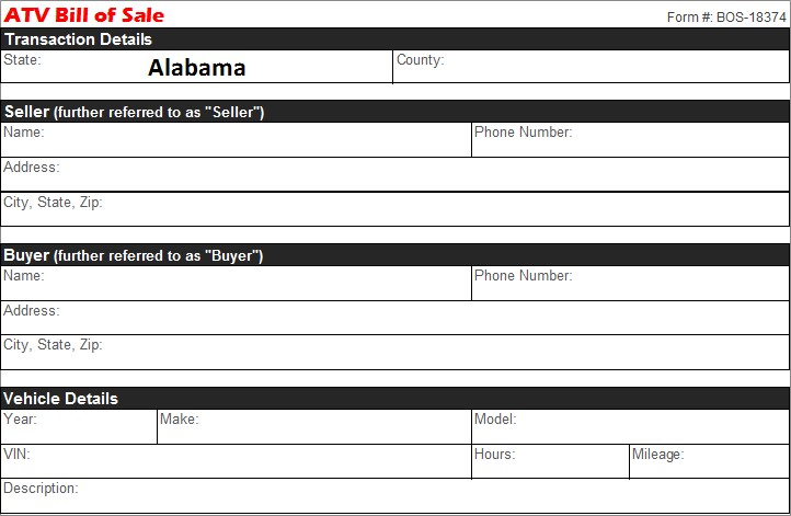Alabama Atv Bill Of Sale Free Template Selling Docs