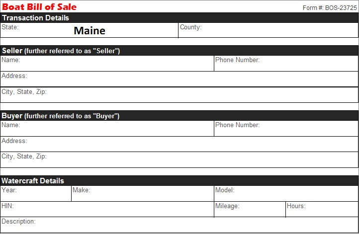 Maine Boat Bill Of Free Template