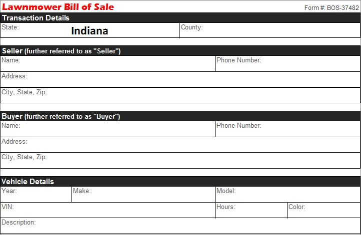 Bill Of Sale Indiana >> Indiana Lawnmower Bill Of Sale Free Template Selling Docs