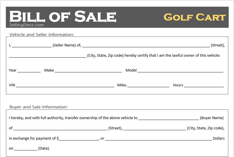 golf cart bill of sale selling docs